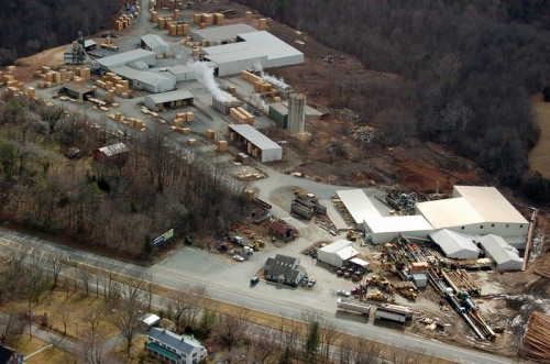 Aerial view of the Yancey Lumber Co in 2007